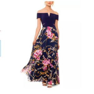 Xscape Off Shoulder Pleated Skirt Gown $219
